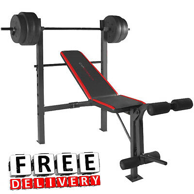 Fitness Bench With 100Lbs Weight Set Gym Barbell Equipment Exercise Home Workout