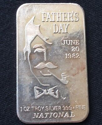 1982 Father's Day 1 Troy oz .999 Fine Silver Art Bar National
