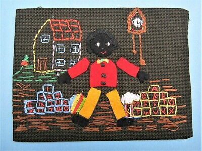 Vintage Embroidery and Applique Picture of a Figure  House Clock Bricks ect