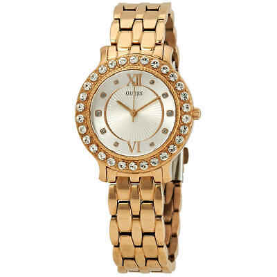 Guess Blush Crystal Silver Dial Ladies Rose Gold-Tone Watch W1062L3