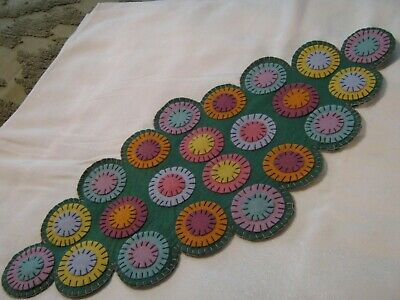 Primitive Wool Applique Spring/Easter Layered Pennies Penny Rug Candle Table Mat