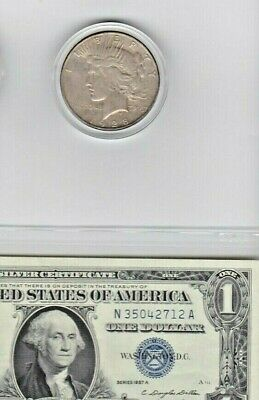 1928-S Peace Silver Dollar & 1957A $1 Silver Certificate lot of one each