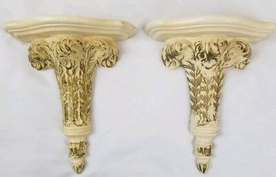 2 Vintage wall sconce shelf corbel Mid-Century Architectural Neoclassical