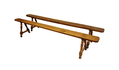 Antique Pair of Fruitwood Refectory Table Benches Circa 1880