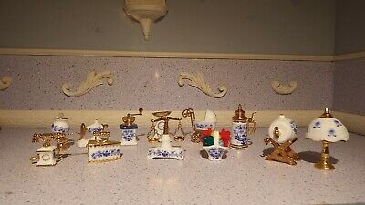 12 doll house assortment job lot of blue/white mayfair pottery items  1.12 JB