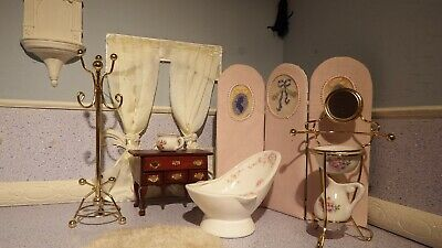 dolls house 10 piece victorian washroom/bathroom 1.12th