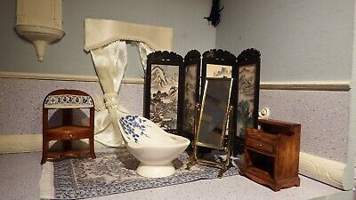 dolls house 7 piece victorian washroom/bathroom 1.12th