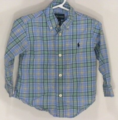 Ralph Lauren Toddler Boys Shirt 24M Blue Green L/S Plaid Striped Button Front