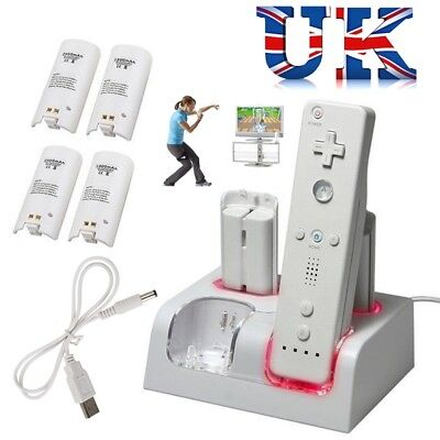 2/4X Rechargeable Batteries Charger Dock Station Nintendo WII Remote Controller