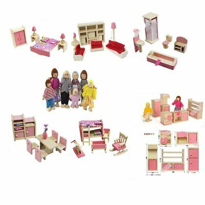 Kid Pink Wooden Furniture Dolls House Miniature 6 Room Set Doll Gift DIY Toy