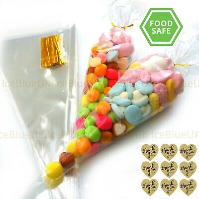 Clear Cellophane Sweet Cone Bags Large - for Candy Favours Birthday Party Cones