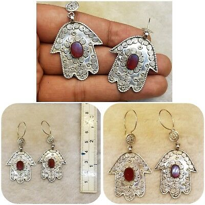 Rare Solid Silver Old Fatima Hand Unique Earring With Natural Red Agate Stone #2