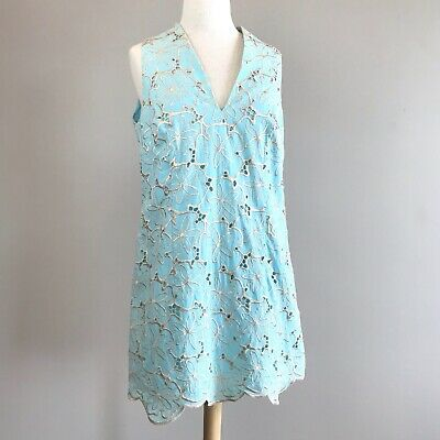 7ed5833c3eb Women s Clothing  298 New Lilly Pulitzer ESTELLA SHIFT DRESS Cotton Blue  Gold Embroidery 0 2 6 8