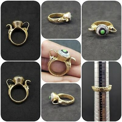 A unique gold gilded old ring in shape of jug with Eye Gabree Lovely # AE1