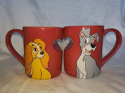 Disney Parks LADY and the TRAMP Red Heart Ceramic Coffee Mug Cup Set