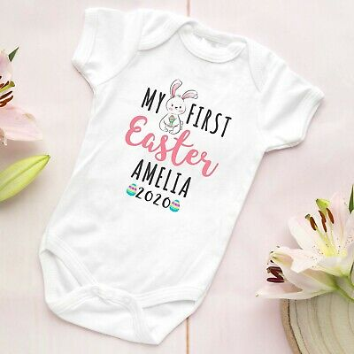 Personalised My First Easter Bunny Baby Grow Vest Bodysuit