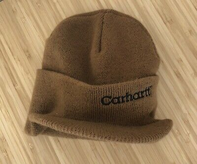 separation shoes 5805c 30516 Carhartt Knit Beanie Billed Visor Brown Winter Toque Hat