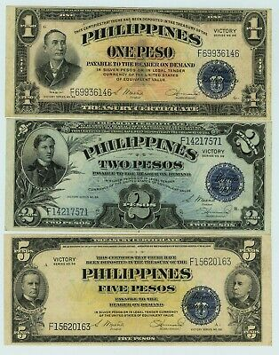 Beautiful Series 66- $1, $2 and $5 Philippines Victory Treasury Certificates