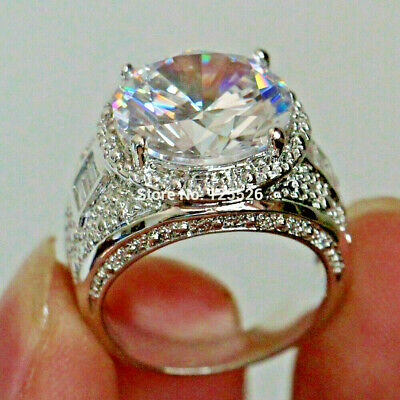 Moissanite Forever 3.Ct Round Cut Engagement Ring Cluster Halo 14k White Gold