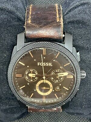 Fossil FS4656 Men's Watch Chronograph Brown Dial Quartz Analog 42mm Leather O729