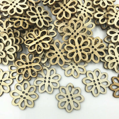 50pcs Natural Wood color Flowers 4-holes Sewing scrapbooking Wooden buttons 20mm