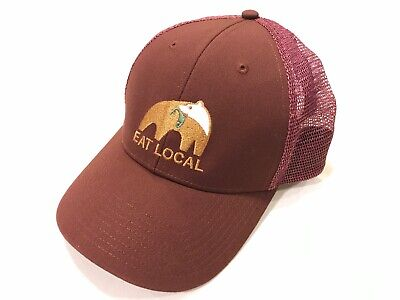 2d1b514908e7b NWOT Rare Patagonia EAT LOCAL Trucker Hat BEAR W  FISH RUBY RED! LIVE SIMPLY