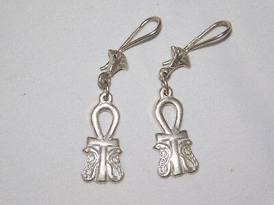 Egyptian Solid Sterling Silver Stamped Handcraft Ankh French Wire Drop Earrings