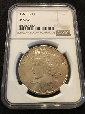 1923 S Peace Dollar - Ngc Ms-62 - Uncirculated - Good Date - Certified - $ Slab