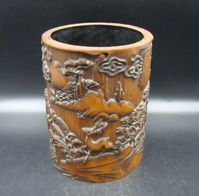 Collectible Handmade Carving Bamboo Brush Pot Statue Scenery