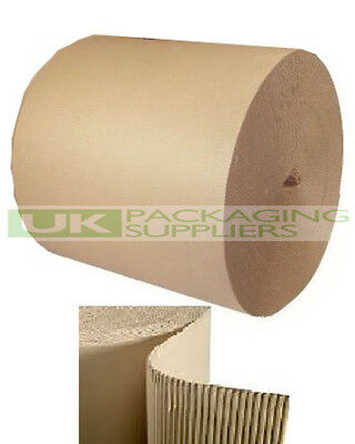 2 LARGE CORRUGATED CARDBOARD PAPER ROLLS 600mm WIDE x 75 Metres PACKING - NEW