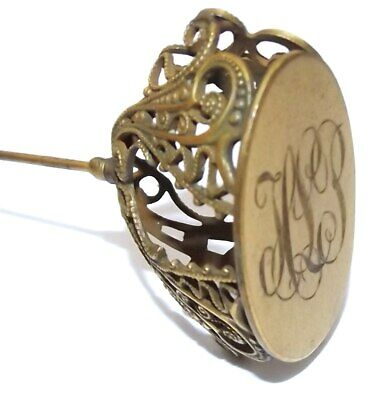 Antique Brass Victorian Hat Pin Large Pierced Filigree Head & Engraved Initials