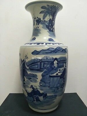 20'' chinese blue and white porcelain painting people boys figure vase statue