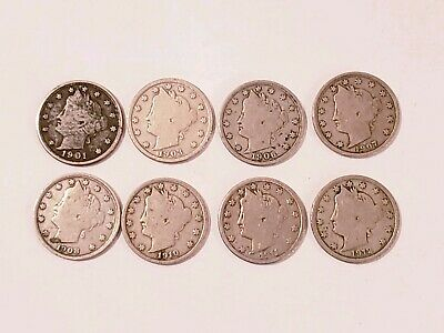 8 Liberty Head V Nickel United States 5 Cent Coin Mixed Dates 1901-1912