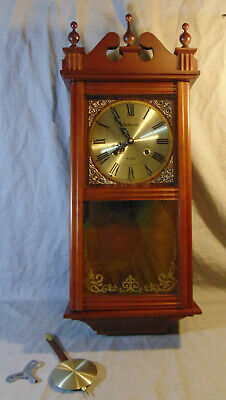 Vintage Rolens 31 Day Wooden Wall Clock w/ Key & Pendulum WORKS