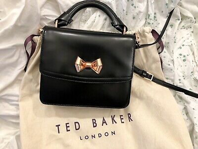 441183a311 TED BAKER London Leather Small Shoulder Bag BLACK Curved Rose Gold Bow