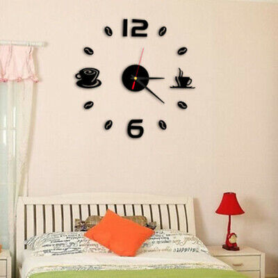 Large Wall Clock Sticker Number Office Living Room Decor Watch Modern DIY Home