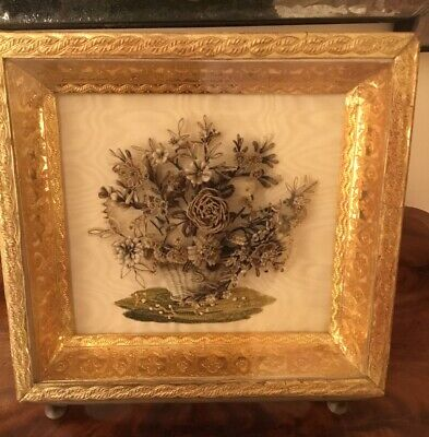 Antique French Mourning Shadow Box Wreath Floral Hair And Embroidery