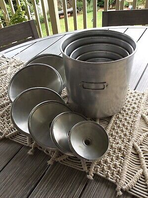 Vintage Nest Of 6 Aluminium Cannisters With Lids. Great Set
