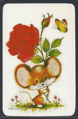 #915.104 Blank Back Swap Card -MINT- Mouse with red rose & butterfly