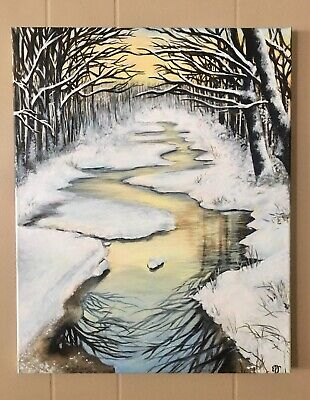 Orginal Winding Winter River Acrylic Painting, Abstract Landscape Art 16x20