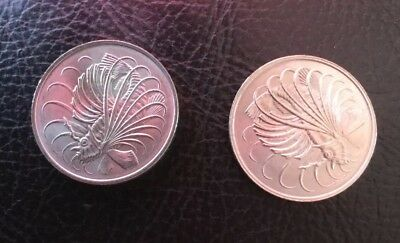 Singapore 50 Cent Coin X 2 1974 & 1980 Nice Coins For World Collection