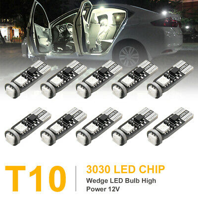 10Pcs T10 W5W Yellow 3030-SMD-LED Car Light Bulbs Panel Door Dome Lamp 2825 168