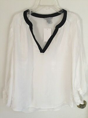 7cf438cd898b60 NWT H&M White Silk with Black Trim Blouse Shirt FREE GIFT Size 6 $29.95