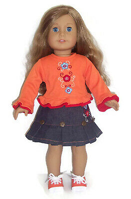 Doll Clothes Fits American Girl Doll and Other 46cm Dolls Orange Knit Shirt &