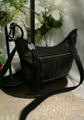 08889df4ea EUC Tignanello Black Leather Organizer Crossbody Shouder Handbag Purse Mint!