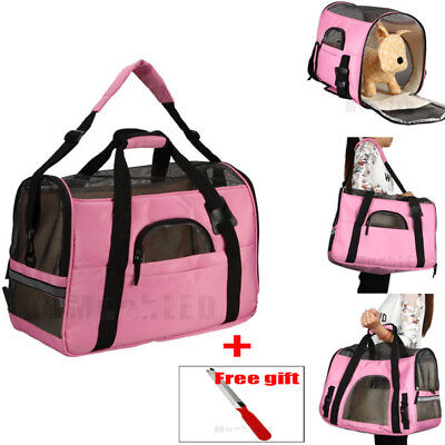 New Pet Carrier Soft Sided Large Cat/Dog Travel Bag Oxford Airline Approved Pink