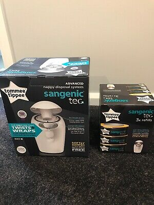 Tommee Tippee Sangenic Nappy Disposal System Bin New In Box And Sangenic Refills