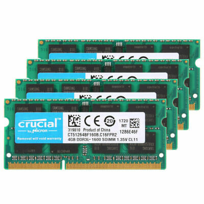 For Crucial 16GB 4X4GB PC3-12800 DDR3L 1600MHz 204Pin SODIMM Laptop Memory RL1US