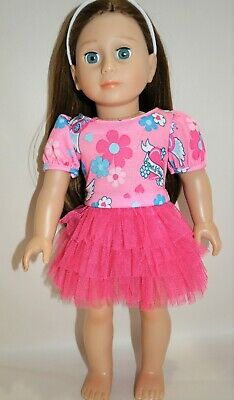 """American Girl Dolls Our Generation 18"""" Doll Clothes  Pink Floral Tutu Dress"""