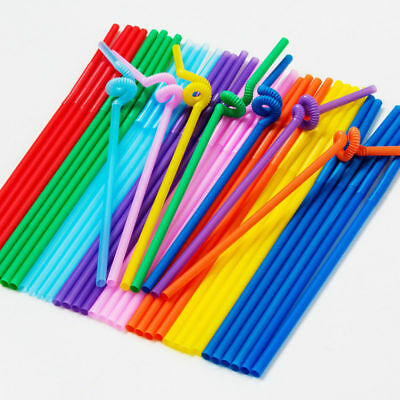 100PCS Sets Plastic Flexible Disposable Extra Long Drinking Straw Bendy Straw